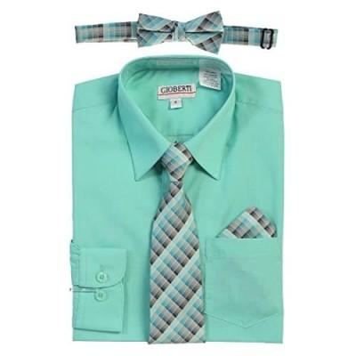 Gioberti Boy's Long Sleeve Dress Shirt + Plaid Tie  Bow Tie and Hanky