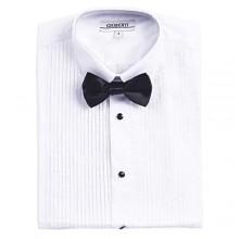Gioberti Boy's White Tuxedo Dress Shirt  with Bow Tie and Metal Studs