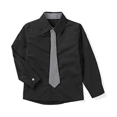 OCHENTA Little Big Boy's Long Sleeve Button Down Dress Shirt