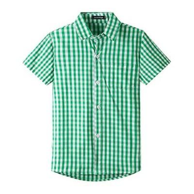 Spring&Gege Boys' Shrot Sleeve Plaid Poplin Button Down Shirt