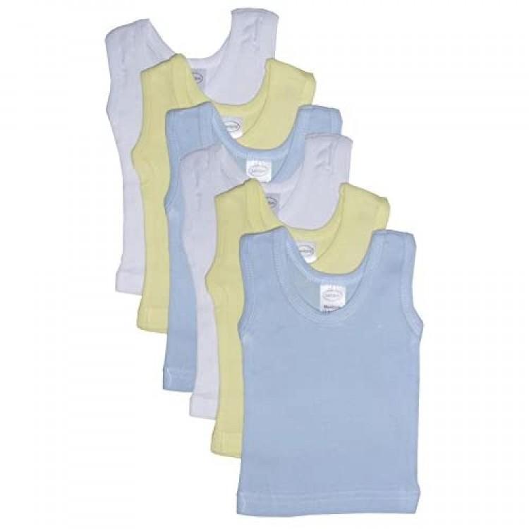 bambini Boy's Rib Knit Pastel Sleeveless Tank Top Shirt 6-Pack - L