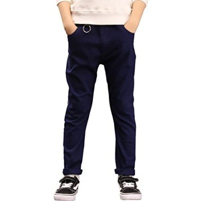 BYCR Boys' Elastic Waistband Slim Fit Jogging School Pants for Kids Size 4-16