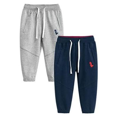 Fruitsunchen Toddler Boys Jogger Athletic Pants Dinosaur Splice Drawstring Elastic Sweatpants (1-Pack 2-Pack)