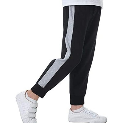 Sykooria Boys Jogger Pants Soft Casual Pants Drawstring Elastic Side Striped Sweatpants with Pockets (4T-12 Years)