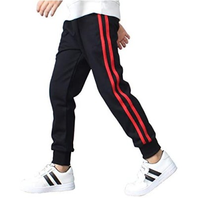 Yameekamulga Boy's Cotton Comfy Tapered Sweatpants Casual Daily Outdoor Kids' Jogging Running Pants for All Seasons