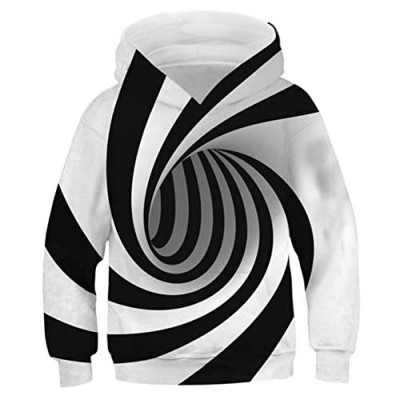 AIDEAONE Boys Girls 3D Print Casual Pullover Hoodies Hooded Sweatshirts Tops Blouse with Pocket Age 6-16