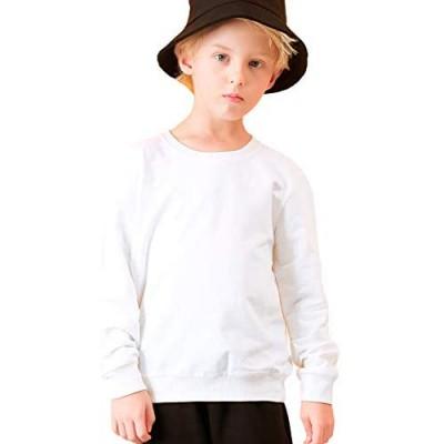 ALALIMINI Unisex Kids Solid Cotton Pullover Sweatshirt Toddler Boys&Girls Crewneck Long Sleeve Tshirts Tops T-Shirt