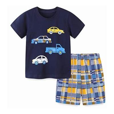 Boys Summer Short Sets Outfits Cotton Casual Crewneck Short Sleeve Shirt Shorts Playwear Clothes Sets 2-7Y