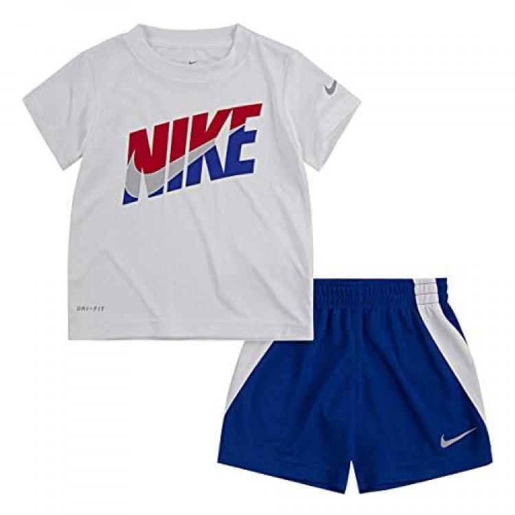 Nike Boy`s Dri-Fit T-Shirt & Shorts 2 Piece Set (Game Royal(76G054-U89)/White 4T)