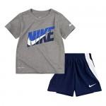 Nike Boy`s Dri-Fit T-Shirt & Shorts 2 Piece Set (Midnight Navy(76G054-U90)/Grey 18 Months)