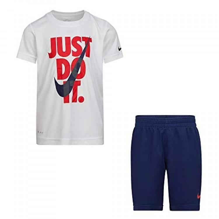 Nike Boy`s Dri-Fit T-Shirt & Shorts 2 Piece Set (Midnight Navy(86F026-U90)/White