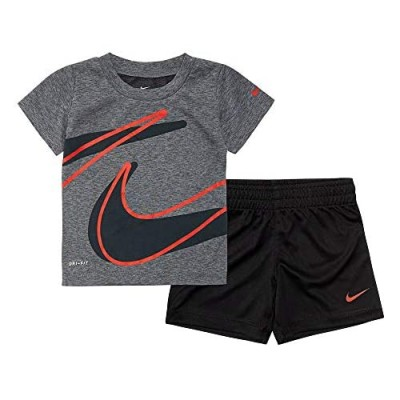 Nike Kids Baby Boy's Dri-Fit Short Sleeve T-Shirt and Shorts Two-Piece Set (Toddler) Black 2T Toddler