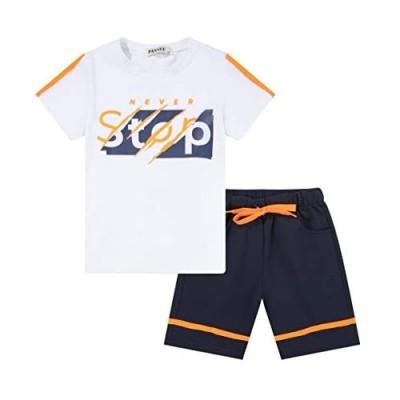nomachalt Boy's 2 Piece Outfits  T-Shirt & Elastic Waisted Shorts Set Drawstring Casual Summer 3-12Y