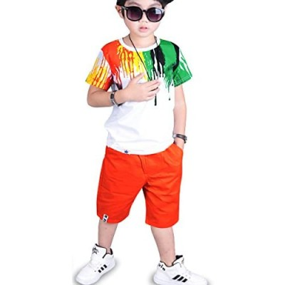 OnlyAngel Boys Colorful Outfits Short Sleeve Tops & Stretch Shorts Set Age 4-13 Years