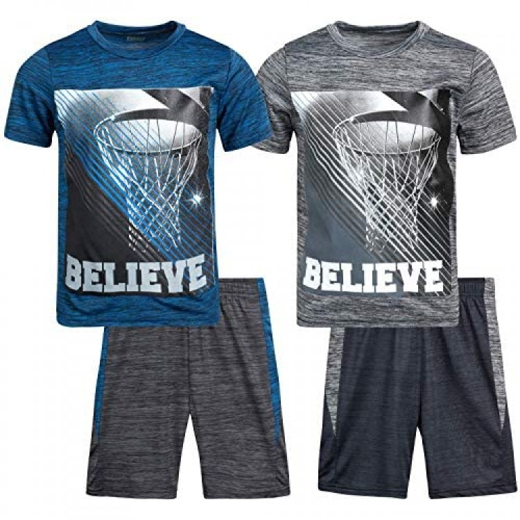Pro Athlete Boys Athletic Active Muscle Tank Top and Shorts 4 Piece Basketball Sports Short Set
