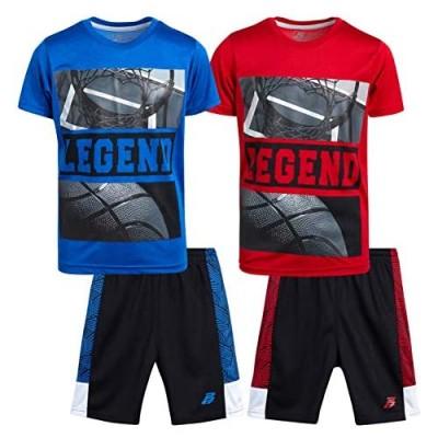 Pro Athlete Boys Athletic Tee Shirt and Shorts Set - Active Basketball Performance 4-Piece Set