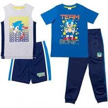 SEGA Sonic The Hedgehog 4 Piece Mix n' Match T-Shirt Tank Top Shorts and Pant Set