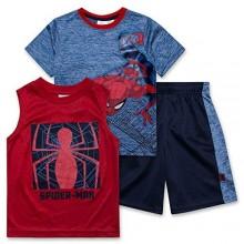 Spiderman Shirt Tank Top & Shorts 3 Piece Set Summer Activewear Bundle Boys Clothes