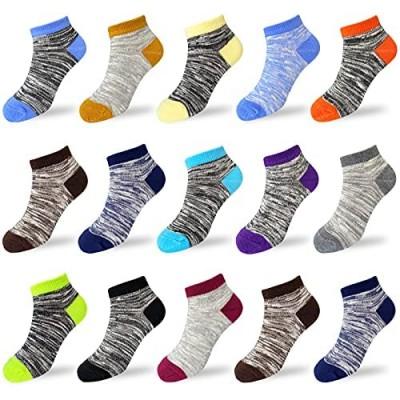 15 Pairs Kids Low Cut Socks Half Cushion Sport Ankle Athletic Socks for Boy Girl