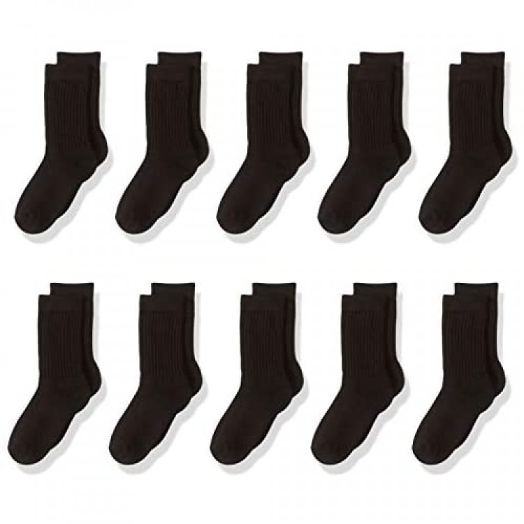 Essentials Kids' 10-Pack Cotton Crew Sock