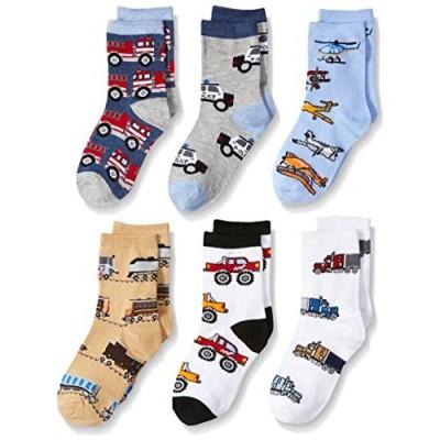 Jefferies Socks Little Boys Trains Trucks Cars Pattern Crew Socks 6 Pack  Multi