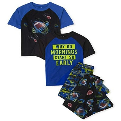 The Children's Place Boys Mornings and Football 4-Piece Pajamas