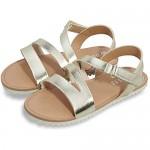 festooning Girls Flat Sandals Princess Open Toe Sandal with Adjustable Strap Summer Flat Shoes