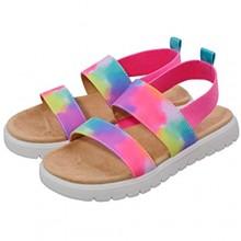 festooning Kids Girls Sandals Open Toe Comfort Princess Flat Sandals with Elastic Strap Memory Foam Summer Shoes