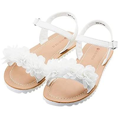 FLYFUPPY Sandals for Girls Ankle Strap Open Toe Flat Sandals Beauty Flower Design Summer Princess Shoes (Little/Big Kid)