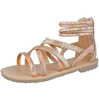 FUPPIA Girls Gladiator Sandals Strappy Summer Sandals with High Ankle Back Zipper for Little Girls