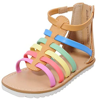 MIXIN Toddler Girl Sandals for Summer Gladiator Cross-tied Zipper Flat Sandals with Strappy Ankle Zipper for Little Girl