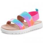 shoeslocker Girls Sandals Summer Shoes Open Toe Elastic Back Strap Sandals Flat for Little Kids Big Kids