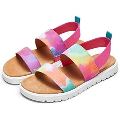 tombik Girls Sandals Kids' Summer Flat Sandals  Princess Sandals with Ankle Strap