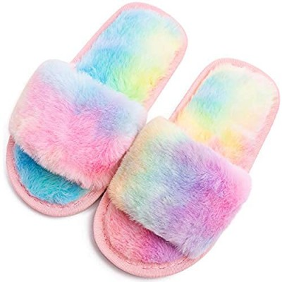 Boys Girls Fuzzy House Slippers Cute Comfy Faux Fur Slip On Fluffy Plush Open Toe Home Slides for Kids Indoor Outdoor Warm Shoes