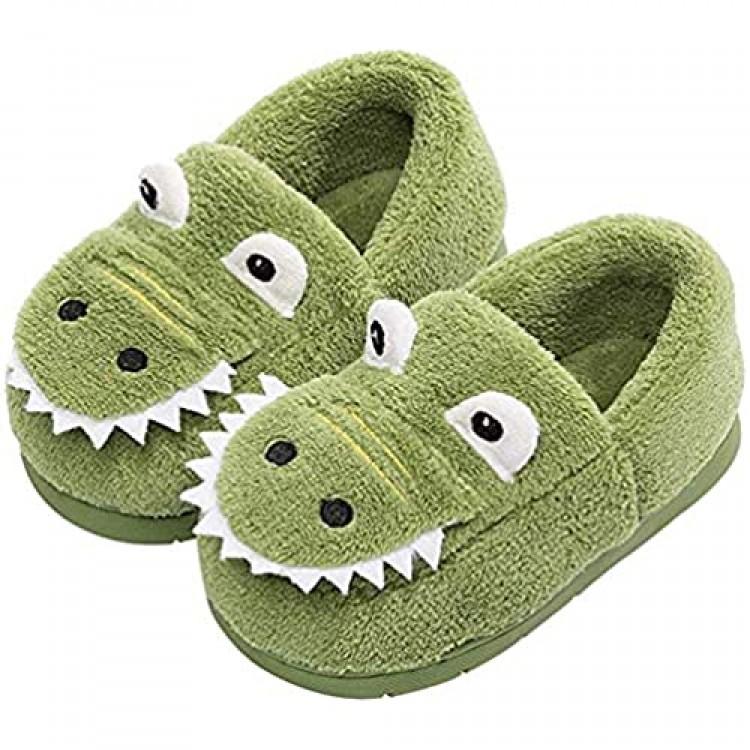 JACKSHIBO Toddler Slippers Boys Girls Warm Cute Home Slippers Winter Indoor House Slippers for Kids