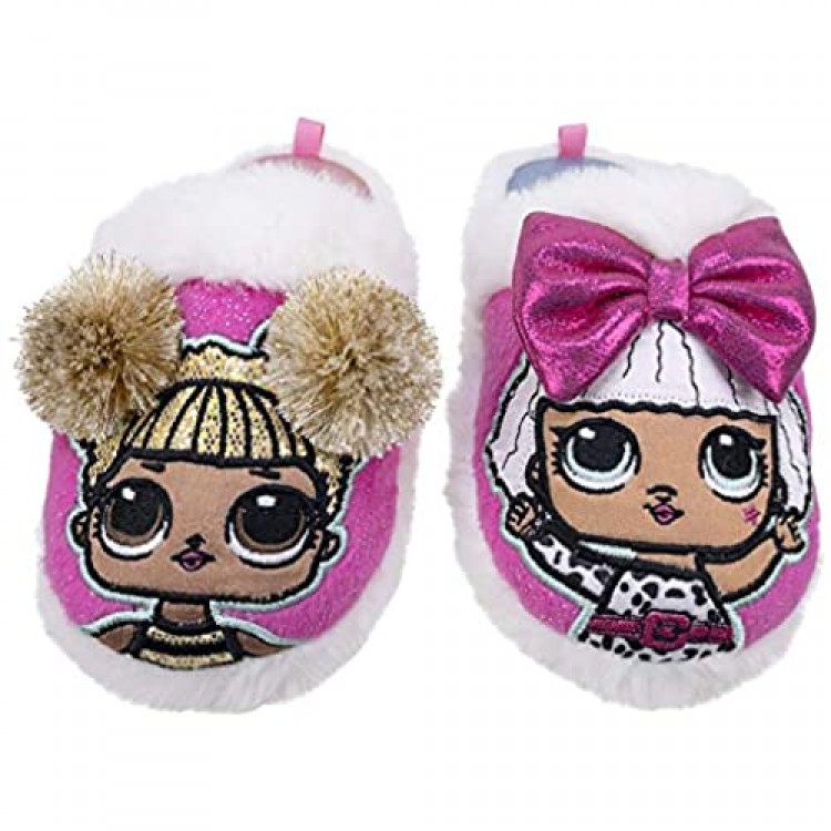 L.O.L. Surprise! Girls Slipper Easy Slip-on Plush Scuff Queen Bee and Rocker Little Kid/Big Kid Size 9 to 1