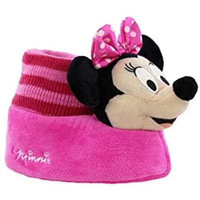 Minnie Mouse Disney Toddler Girls Plush 3D Minnie Head Sock Top Slippers