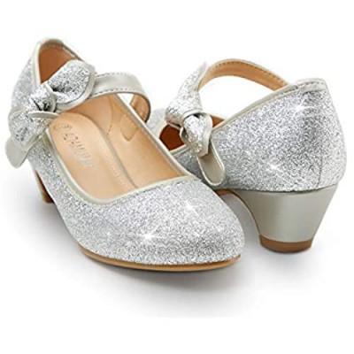 ADAMUMU Girls Low Heel Shoes Glitter Dress Shoes for Wedding(Little Big Kids)