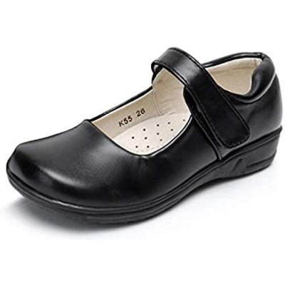Akk Girl's Mary Jane School Uniform Shoes Strap Dress Uniform Flats Black (Toddler/Little Girl/Big Girl)