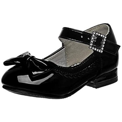 Josmo Girls Low Heel Mary Jane Ballerina Dress Shoes with Jewel Faux Buckle (Toddler/Little Girl)