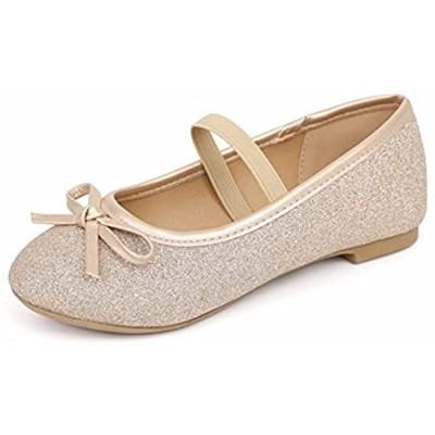 MUSSHOE Girl's Dress Shoes Girls' Flats Toddler Little Girls Cute Glitter Ballet Flats Shoes Bow Flower Girls Ballet Mary Jane Flats (Toddler/Little Kid/Big Kid)
