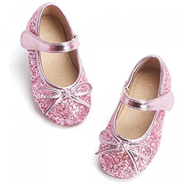 Otter MOMO Toddler/Little Girls Mary Jane Ballerina Flats Shoes Slip-on School Party Dress Shoes