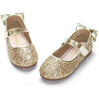 PANDANINJIA Toddler/Little Kid Girl's Angela Dress Mary Jane Ballet Flats Bow Flower Girl Wedding Party Ballerina Flat Shoes
