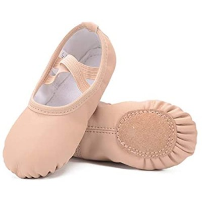 Ruqiji Leather Ballet Shoes for Girls/Toddlers/Kids/Women  Full Sole Leather Ballet Slippers/Dance Shoes