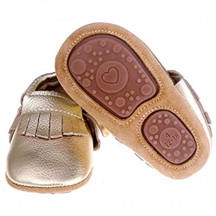 Pidoli Baby Leather Shoes-Unisex Girls Boys Moccasins Rubber Sole