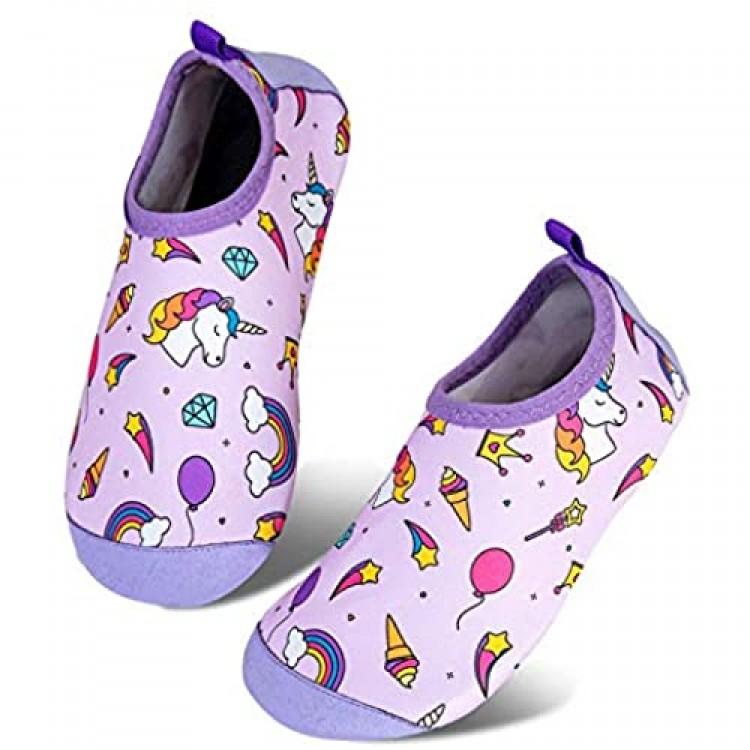 Toddler Kids-Water-Shoes Lightweight Non-Slip Aqua-Socks Swim-Shoes for Beach-Pool Walking for Boys Girls