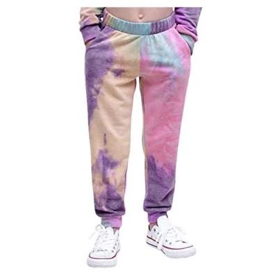 Bbalizko Kids Girls Tie Dye Joggers Sweatpant Loose Elastic High Waist Trouser Sport Pants with Pocket
