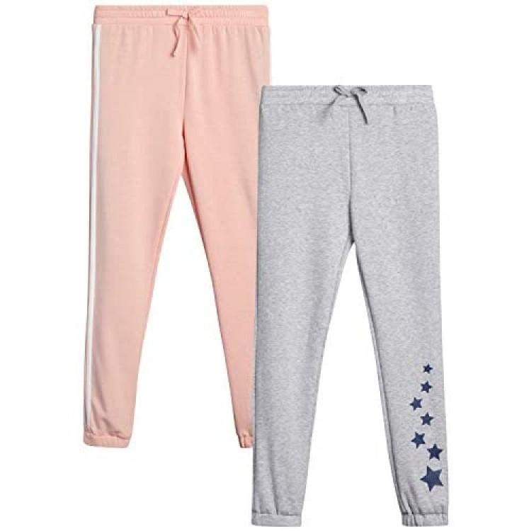 WallFlower Girls' Sweatpants - Athletic Fleece Jogger Active Pants (2 Pack)