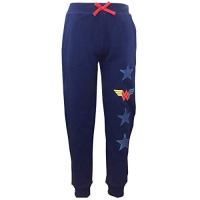 Warner Brothers Girls Wonder Woman with Stars Navy Joggers Sweatpants with Contrasting Drawstring