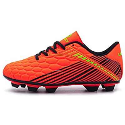 LEOCI Durable Soccer Shoes - Kid's Football Boots Boy and Girl Anti-Slip Child Light Soccer Cleats